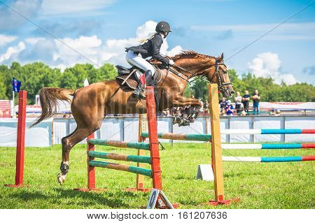 A young, female jockey on her horse leaping over a hurdle.
