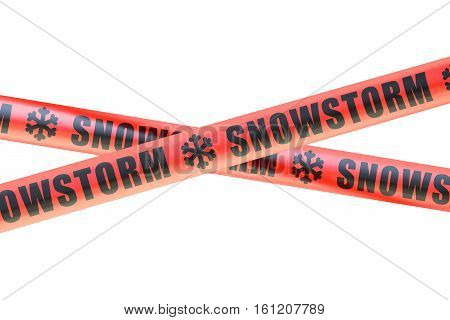 Snowstorm Caution Barrier Tapes 3D rendering on white