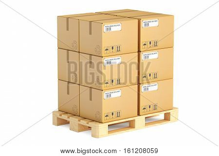 Wooden pallet with parcels. Shipping and logistics concept 3D rendering isolated on white background