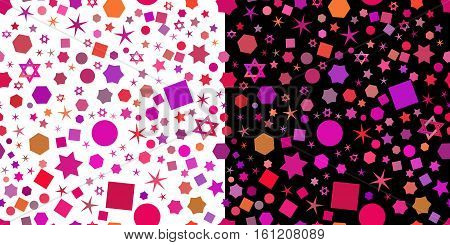 Seamless jewish patterns with violet purple elements for Festival of Lights Feast of Dedication Hanukkah in two variants on white and black background. Vector illustration