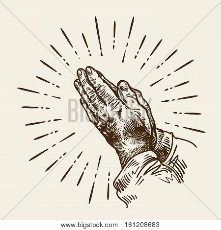 Hand drawn praying hands. Sketch vector illustration