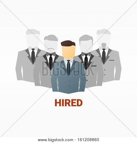 Vector flat image of business people. Hiring competition concept