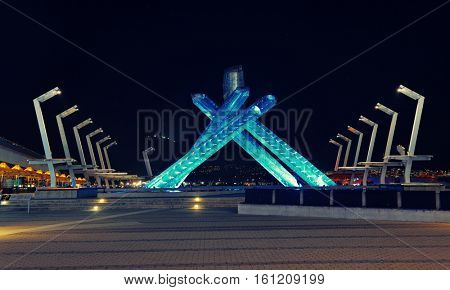 VANCOUVER, BC - AUG 17: Jack Poole Plaza and Olympics torch on August 17, 2015 in Vancouver, Canada. With 603k population, it is one of the most ethnically diverse cities in Canada.