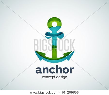 ship anchor logo template, abstract business icon