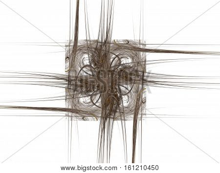 3D Rendering With Brown Square Abstract Fractal With Outgoing Curved Lines