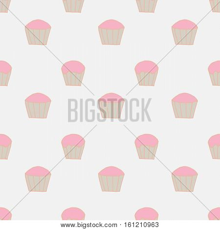 pale neutral seamless pattern with hand drawn cupcakes