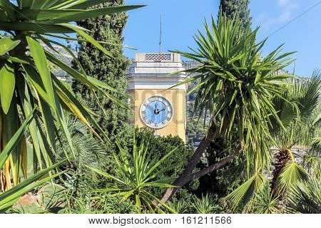 clock tower with plants in eze village