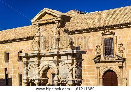 Santa Maria Fountain and Felipe Neri Seminary in Baeza - Spain, Andalusia