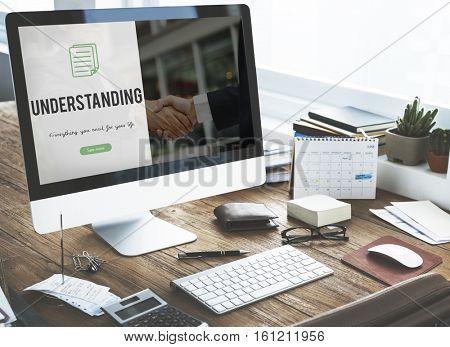 Understanding word on business handshake background
