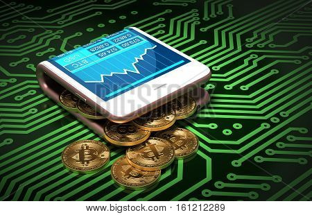 Concept Of Digital Wallet And Bitcoins On Green Printed Circuit Board. Gold Bitcoins Spill Out Of The Pink Curved Smartphone. 3D Illustration.