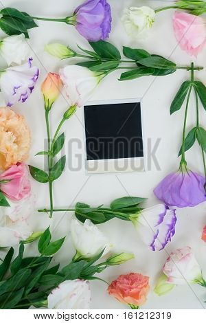 Pink, orange and violet eustoma flowers with nstant photos flat layered scene