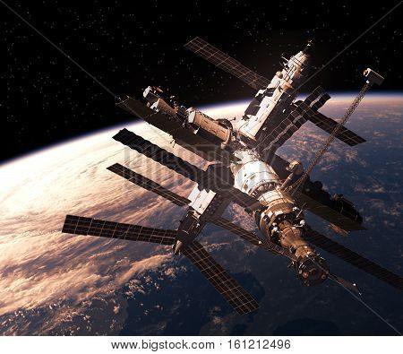 Space Station Orbiting Planet Earth. 3D Illustration.