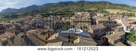 Panoramic views of the village of Loarre Aragon Huesca Spain, the main square, the inn and the town hall, old houses, narrow streets, in the background the Castle Loarre