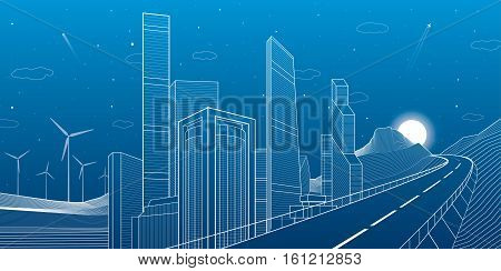 Highway in mountains. Tower and skyscrapers, neon city and business buildings, night scene, white lines on blue background, windmills power, vector design art