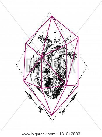Illustration with sketch of human heart. Hand drawn vector background.Boho style drawing. Us for print for t-shirt smart phone poster web. Happy Valentine s Day.