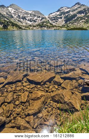 Clear waters of Popovo lake and Demirkapiya pass, Pirin Mountain, Bulgaria