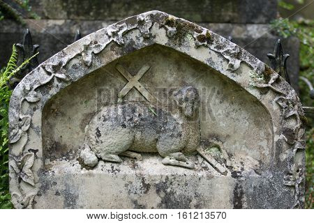 Grasmere England - May 30 2012: In the cemetery of the Saint Oswald Church stands the gray and white old tombstone showing the Agnus Dei the Lamb of God with a cross. Green foliage.