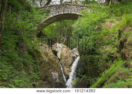 Lake District England - May 30 2012: A stone bow bridge links the two sides of a ravine with waterfall in a forest. Lots of green foliage and white water streaming over brown rocks. Shot from lower than bridge.