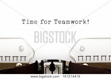 Time For Teamwork typed on retro typewriter.