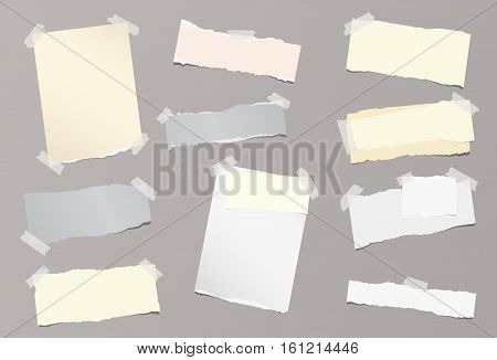 Pieces of different size ripped note, notebook, copybook sheets stuck with sticky tape on background
