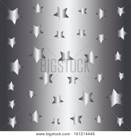 Silver stars pattern, silver style background  illustration, foil design