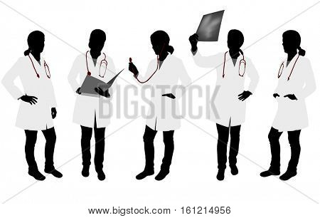 female doctor silhouettes - vector