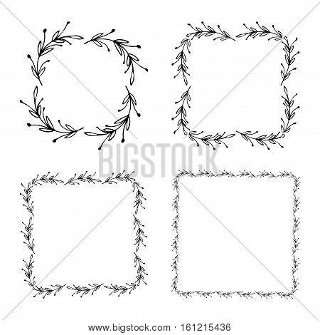 Vintage floral frame, nature style design elements, decorative hand drawn flowers illustration