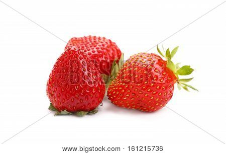 Fresh Red Ripe Strawberries On White Close Up