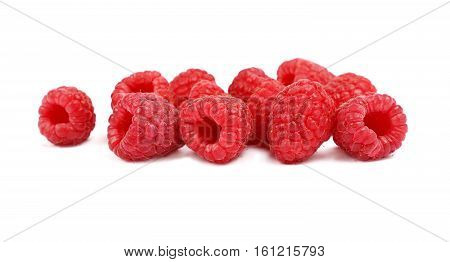 Fresh Red Ripe Raspberries On White Close Up
