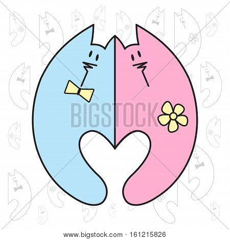 Love Valentine art. Romantic vintage clipart with cats. Valentine's Day or wedding illustration.