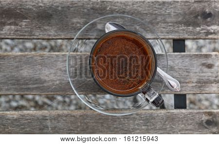 Turkish Coffee In Glass Cup Close Up Top View