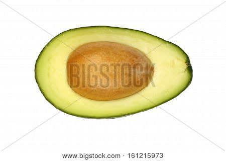 Fresh Green Ripe Avocado Isolated On White