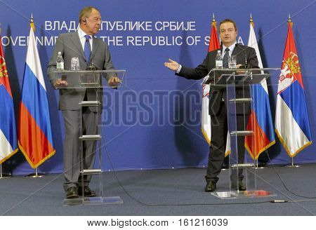 Belgrade, Serbia. December 12Th 2016: Joint Press Conference Of Russian And Serbian Foreign Minister