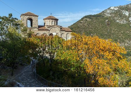 Autumn landscape of Church of the Holy Mother of God in Asen's Fortress, Asenovgrad, Plovdiv Region, Bulgaria