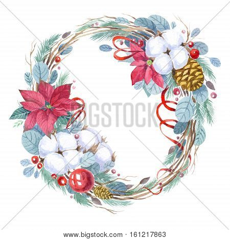Christmas wreath with poinsettia and cotton plant