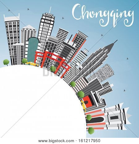 Chongqing Skyline with Gray Buildings, Blue Sky and Copy Space. Business Travel and Tourism Concept with Modern Buildings. Image for Presentation Banner Placard and Web.