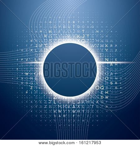 Big Data Blue Technology Background with Different Letters. Hacker concept. Data Visualization with Copy Space.