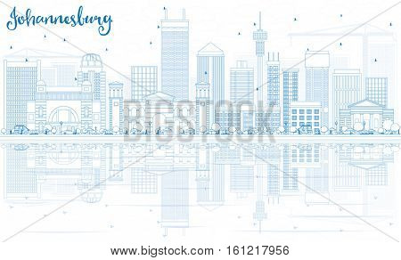 Outline Johannesburg Skyline with Blue Buildings and Reflections. Business Travel and Tourism Concept with Johannesburg Modern Architecture. Image for Presentation and Banner.