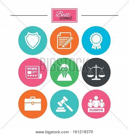 Lawyer, scales of justice icons. Clients, auction hammer and law judge symbols. Newspaper, award and agreement document signs. Colorful flat buttons with icons. Vector