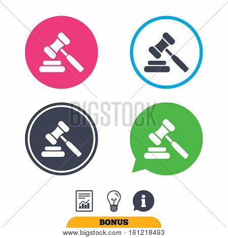 Auction hammer icon. Law judge gavel symbol. Report document, information sign and light bulb icons. Vector