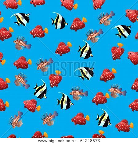 Very high quality original trendy vector seamless pattern with Volitan Lionfish. Pterois volitans.