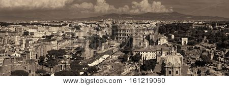 Rome rooftop panoramic view with ancient architecture in Italy.