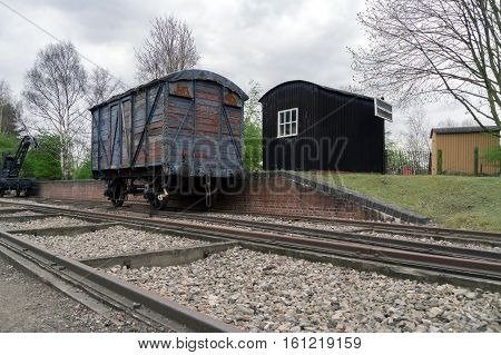 Old wagons on a disused track in England
