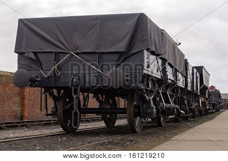Old wagons on a UK railway track yard