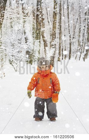 little boy is walking on the winter  forest