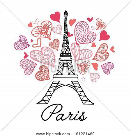 Unique vector Eifel Tower Paris Love Pink Purple Drawing Seamless Pattern with romantic hearts. Perfect for travel themed designs products, bags, accessories, luggage, clothing.