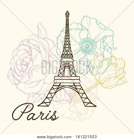 Unique Vector Eifel Tower Paris In Vintage Style With Beautiful, Romantic Pastel Flowers. Perfect for travel themed postcards, greeting cards, wedding invitations.