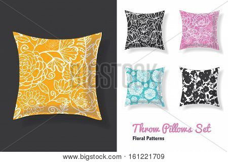 Premium Set Of Throw Pillows In Matching Unique Floral Seamless Patterns. Square Shape. Editable Vector Template. Surface Pattern Textile Design.