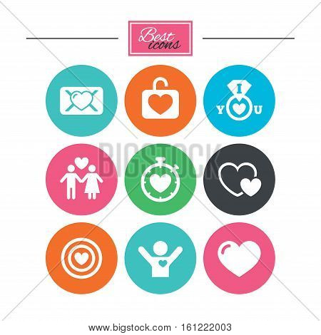 Love, valentine day icons. Target with heart, oath letter and locker symbols. Couple lovers, boyfriend signs. Colorful flat buttons with icons. Vector