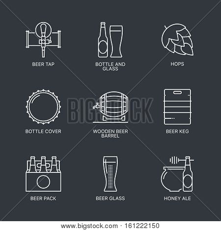Thin line beer logo concept isolated on dark background. Web infographics linear beer icons set. Outline beer sign vector illustration. Stroke simple mono beer icon infographic pictogram pack.